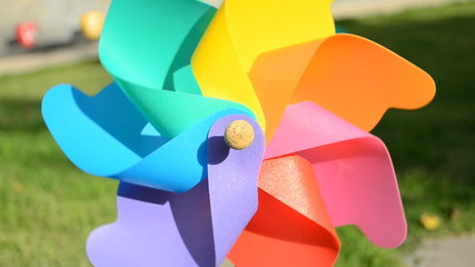 Mini Wind Turbine bright and colourful.  HD