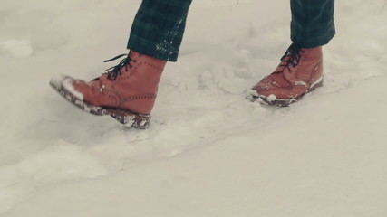 Feets Walking In Snow
