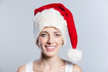 Christmas woman smiling portrait closeup