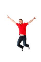 Young casual man jumping.