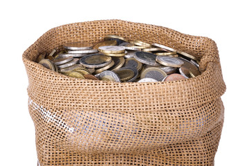 Money bag with coins isolated at a white background