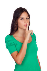 "Beautiful casual girl with a gesture of ""shh"""