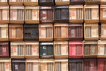 Colourful boxes plastic crates.