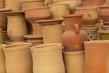 Handmade moroccan clay dishware in a pottery factory