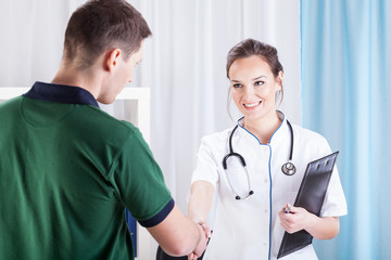 Young man visiting doctor