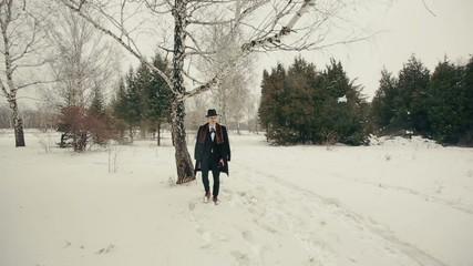 Elegant Man Walks on Nature