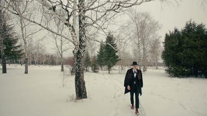 Stylish Man Walks on Nature