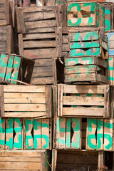 Stacked old wood boxes, Morocco