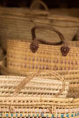 Wicker baskets in souk in Morocco