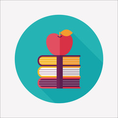Books tower with apple flat icon with long shadow,eps10