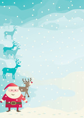 Vector with Santa Claus, reindeers on winter landscape