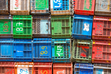 Colourful boxes plastic crates.