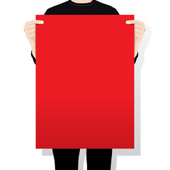 man holding a blank paper ,vector illustration
