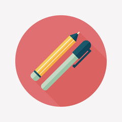 Pencil and pen flat icon with long shadow,eps10