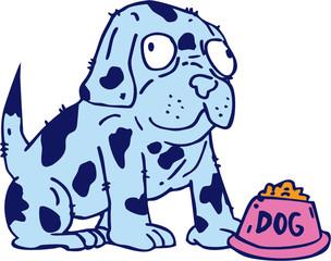 Spotted Dog Food Bowl Cartoon