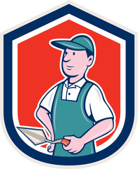 Bricklayer Mason Plasterer Shield Cartoon