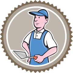 Bricklayer Mason Plasterer Rosette Cartoon