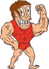 Bodybuilder Flexing Muscles Cartoon