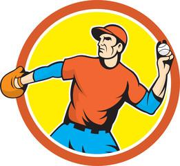 Baseball Pitcher Outfielder Throwing Ball Cartoon