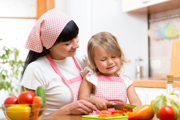 mom and kid girl cutting tomatoes on kitchen