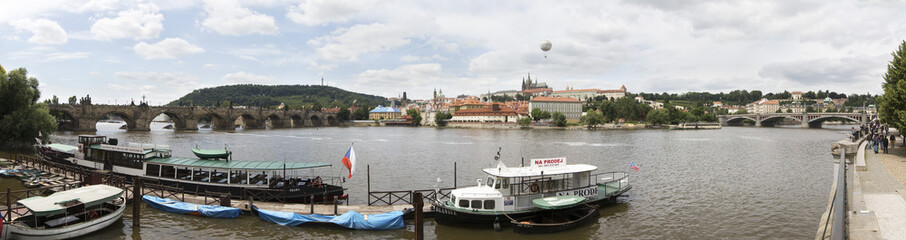 Motor ship on the river Vltava in Prague.