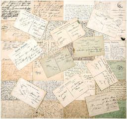 vintage postcards. handwritten undefined texts