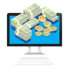 Money Dollars in desktop computer