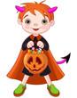 Halloween trick or treating boy