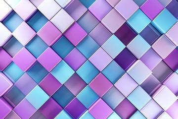 fototapeta 3D bloki niebiesko fioletowy