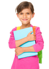 Young girl is holding book