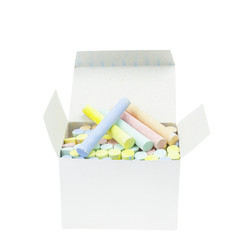 chalks in paper box isolated with clipping path.
