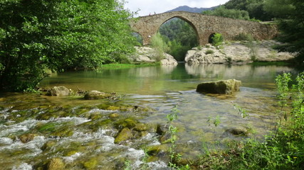 Mountain river with  stone bridge