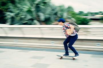 Riding on skateboard