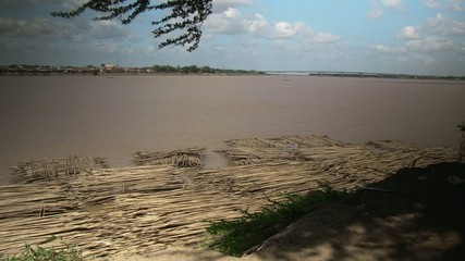 group of bamboo raft along  the mekong river(6)