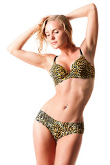 In a bathing suit with leopard pattern