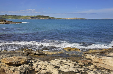 Mediterranean Sea in Bugibba. Malta