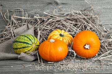 Autumn pumpkins on wooden board, straw