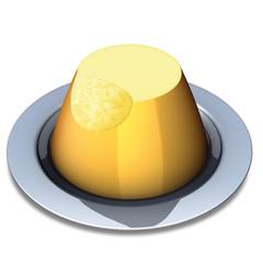 budino alla vaniglia su piatto acciaio