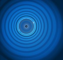 Eye ball on ripple blue background