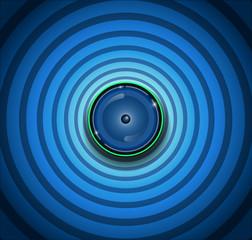 Spyware- Eyeball on ripple blue background.Vector file