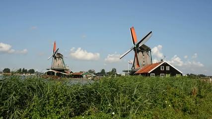 landscape of windmill zaanse schans - amsterdam