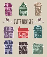 Cute vector hand drawn house set