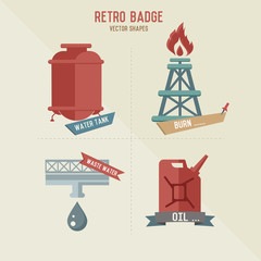 Oil and refinery symbol retro design