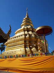 The Golden Pagoda at Chiang Mai Province, Thailand.