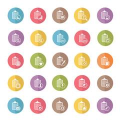 Document icon set,color vector