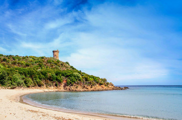 watchtower in Pinarello beach, south of Corsica
