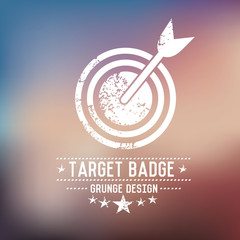 Dart badge grunge symbol on blur background