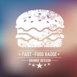 Fast food badge grunge symbol on blur background