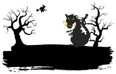 Drache in einer Halloween Nacht