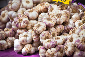 Garlic bunches in a market
